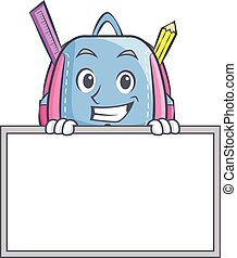 Grinning with board school bag character cartoon