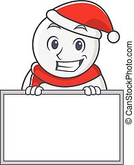 Grinning with board snowman character cartoon style