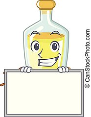 Grinning with board soybean oil put in cartoon bottle
