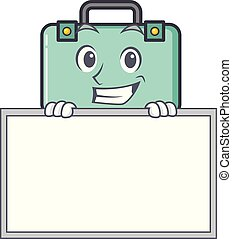 Grinning with board suitcase character cartoon style