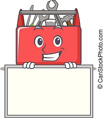 Grinning with board tool box character cartoon