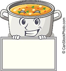 Grinning with board vegetable soup with pasta in pot cartoon