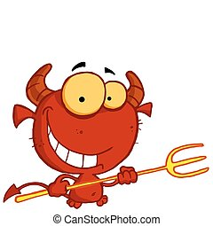 Grinning Yellow Eyed Red Devil With Horns, Holding A Pitchfork