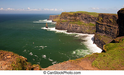 gripande, klippor, moher, irland