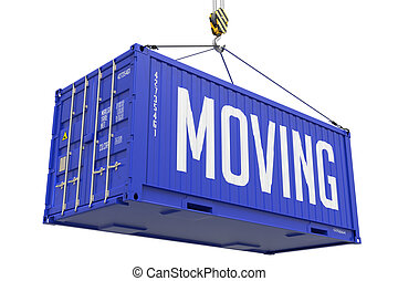 gripande, -, kungsblått, hängande, frakt, container.