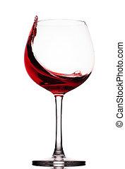 gripande, röd vin, glas, över, a, vit fond
