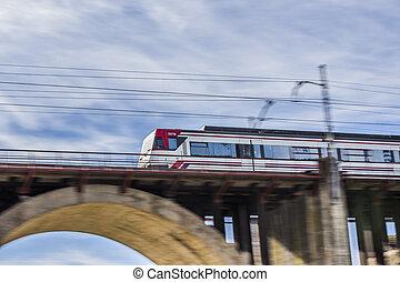 gripande, tåg, på, a, bro