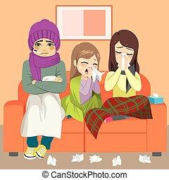 gripe, família, sofá