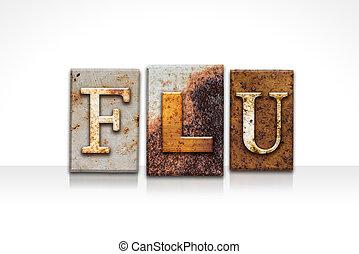 gripe, letterpress, conceito, isolado, branco
