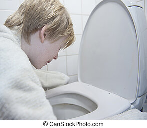 gripe, niño, estómago, joven, vomitar