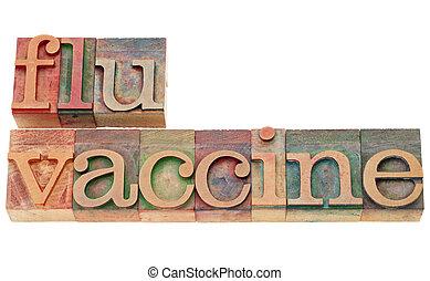 gripe, vacina, em, letterpress, tipo