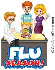 grippe, conception, docteur, gosse, police, saison, mot