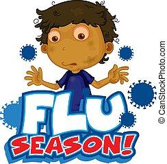 grippe, conception, garçon, malade, police, saison, mot