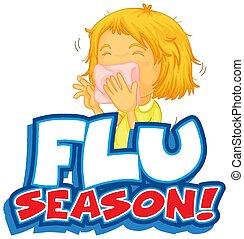 grippe, conception, police, saison, mot