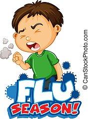 grippe, conception, tousser, garçon, malade, police, saison, mot