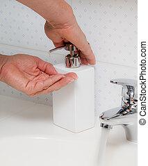 grippe, contre, hn1, laver, protection, porcs, nouveau, hands.