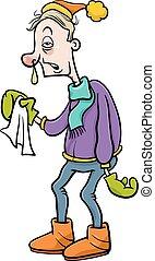 grippe, dessin animé, illustration, homme