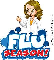 grippe, heureux, conception, docteur, police, saison, mot