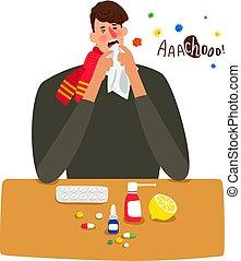 grippe, isolé, malade, éternue, blanc, homme