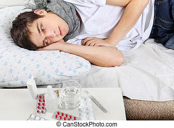 grippe, jeune, homme malade