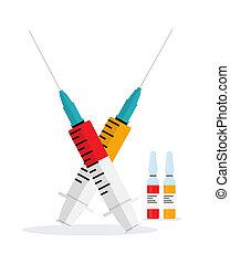 grippe, monde médical, polio, conscience, poster., concept, ...