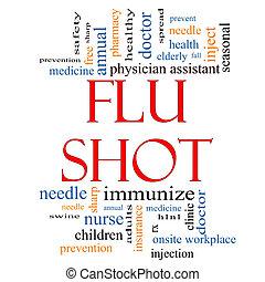 grippe, mot, concept, coup, nuage
