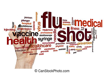 grippe, mot, coup, nuage