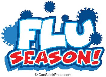 grippe, mot, fond blanc, conception, saison, police