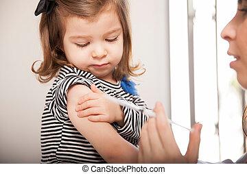 grippe, peu, coup, girl, obtenir