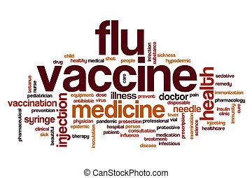 grippe, wort, impfstoff, wolke
