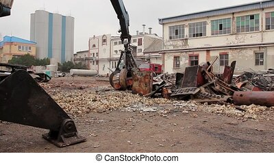 Gripper machine loader, manipulator, catch scrap metal with...