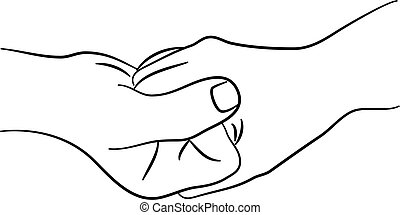 a simple line drawing of two hands clasping together