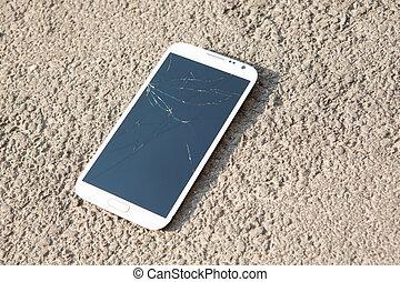 gris, écran, isolé, téléphone, fond, blanc, intelligent