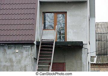 gris, étapes, béton, bois, escalier, brun, mur