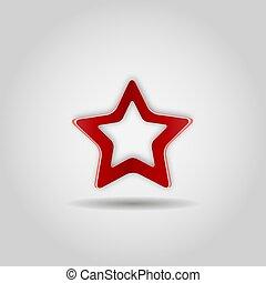 gris, étoile, illustration., arrière-plan., signe., réaliste, vecteur, toile, icône, rouges