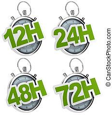 gris, 24h, 48h, 12h, sur, isolé, 72h, chronomètre, fond,...