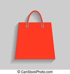 gris, achats, illustration., sac, arrière-plan., vector.,...