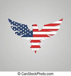 gris, aigle, américain, fond, drapeau