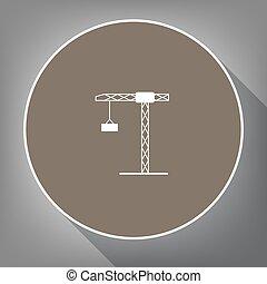gris, aimer, brun, sommet, blanc, grue, postament., long, contour, arrière-plan., cercle, vector., construction, ombre, icône, signe., vue