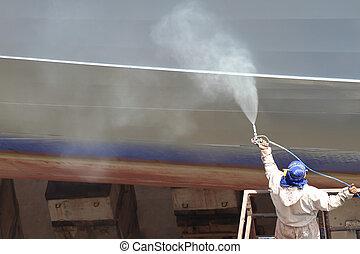 gris, airbrush, casco, trabajador, pintura, utilizar, barco,...