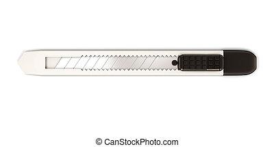 gris, aislado, plano de fondo, papelería, blanco, cuchillo