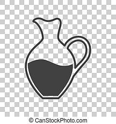 gris, amphore, signe., sombre, arrière-plan., transparent, icône