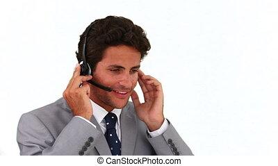 gris, appel téléphonique, complet, avoir, homme