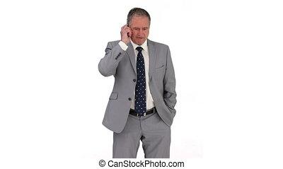 gris, appel téléphonique, complet, homme affaires, avoir