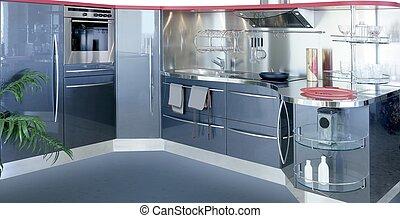 gris, argent, kitchenw, moderne, conception intérieur, maison