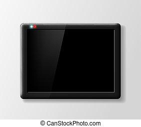 gris, arrière-plan noir, tablette, numérique