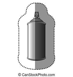 gris, autocollant, métal, pulvérisation, boîte aérosol, bouteille, 3d