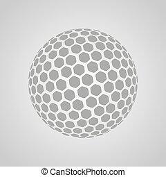 gris, balle, golf, isolé, vecteur, fond
