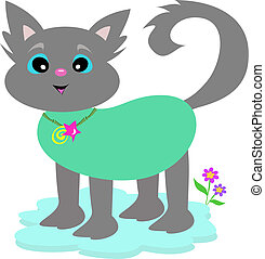 gris, bambou, collier, chat