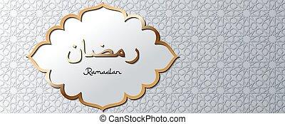 gris, bandera, plantilla, o, texto, sitio web, letras, girih, árabe, traducción, fondo dorado, marco, tradicional, ornament., ramadan, encabezamiento